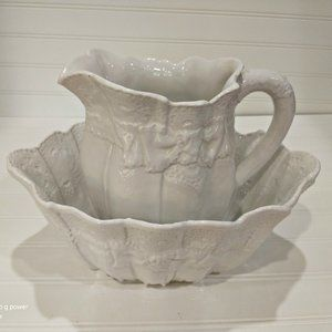 Vintage Italian Creamware Lace Pitcher & Bowl